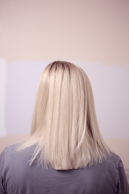 Blonde woman with hair extensions
